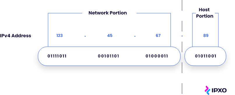 Network and host portions of one IPv4 address.