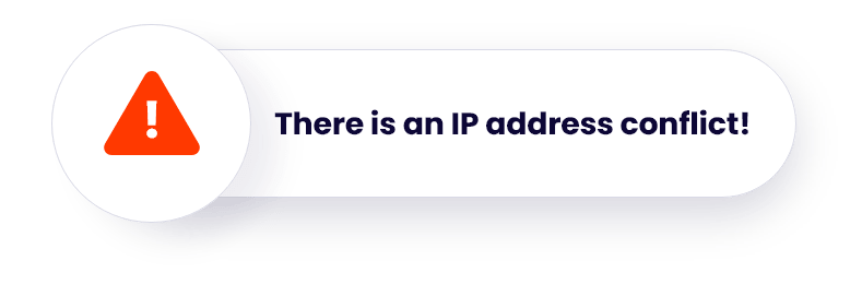 There is an IP address conflict warning.